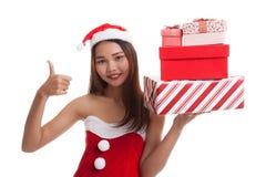 Asian Christmas Santa Claus girl with  gift box Royalty Free Stock Photography