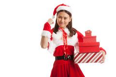 Asian Christmas Santa Claus girl with gift boxs. Isolated on white background Stock Image
