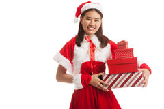 Asian Christmas Santa Claus girl with gift boxs stock images