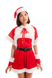 Asian Christmas Santa Claus girl look up Royalty Free Stock Photos
