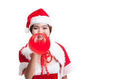 Asian Christmas Santa Claus girl  with megaphone. Isolated on white background Royalty Free Stock Photography