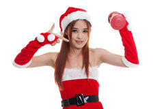 Asian Christmas Santa Claus girl  point to red dumbbell. Asian Christmas Santa Claus girl  point to red dumbbell  isolated on white background Royalty Free Stock Photography