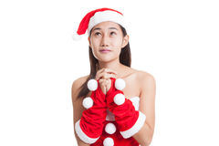 Asian Christmas Santa Claus girl  is praying. Stock Image