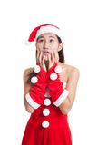 Asian Christmas Santa Claus girl  shock and look up. Stock Images