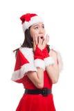Asian Christmas Santa Claus girl  shock and look up. Stock Photography