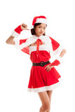 Asian Christmas Santa Claus girl  thumbs down Stock Photo