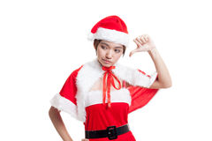Asian Christmas Santa Claus girl  thumbs down. Stock Images