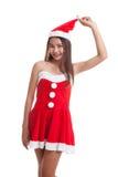 Asian Christmas Santa Claus girl. Stock Images