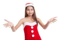 Asian Christmas Santa Claus girl. Royalty Free Stock Images