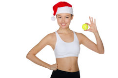 Asian Christmas with tennis ball Stock Photo