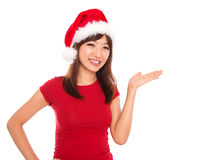 Asian Christmas woman presenting Royalty Free Stock Image