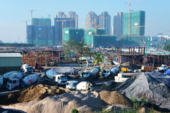 Asian city, construction site, build apartment building Stock Photography