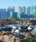 Asian city, construction site, build apartment building Royalty Free Stock Images