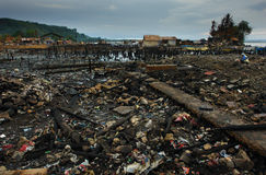Asian city disaster. Overview of the charcoaled remains of Mangagoy (Bislig City, Mindanao, Philippines) after a blazing fire destroyed half of the city in Royalty Free Stock Image