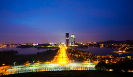 Asian Cityscape. View of Putrajaya, Malaysia's Administrative Capital cityscape at dusk with the main boulevard and lakes at both side Stock Image