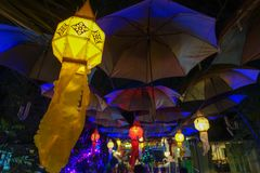Asian classic lamp. With colorful at the outdoor Stock Images