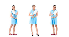 Asian cleaning lady woman. Asian hotel maid or cleaning lady, compositing of three scenes, on white background stock photo