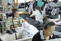Asian clothes factory Royalty Free Stock Images