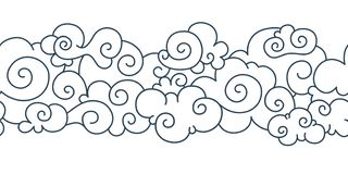 Asian cloud pattern. Chinese japanese oriental border hand drawn tibetan sky ornament elements. Vector decorative curly. Asian cloud pattern. Chinese japanese royalty free illustration