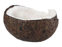 Asian coconut isolated on white. Asian coconut with shell tropical fruit  isolated on white Stock Photos