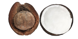 Asian coconut isolated on white. Asian coconut with shell tropical fruit  isolated on white Royalty Free Stock Photos