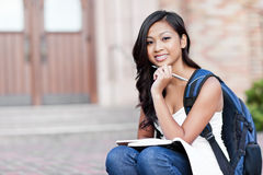 Asian college student. A portrait of an Asian college student at campus stock photos