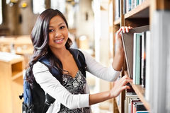 Asian college student. A portrait of an Asian college student in library Stock Images