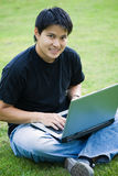 Asian college student. A shot of an asian college student sitting on the grass on campus royalty free stock photography