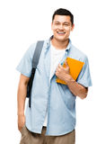 Asian college student happy  school books Stock Images