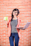 Asian college student with Laptop and coffee Stock Photography