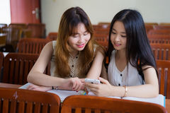 Asian college students. Asian female college students to study in classroom Stock Photography