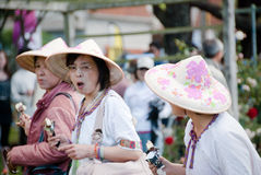Asian colorful Hats.Festival of Roses.Auckland.NZ Royalty Free Stock Image