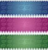 Asian colorful horizontal paisley banners Royalty Free Stock Photo