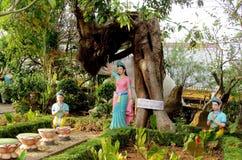 Asian colorful mythological statues Royalty Free Stock Photo