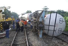 ASIAN COMMON DISASTER HANDLING PROCEDURE. An out of track train at Karanganyar, Central Java, Indonesia. Indonesia and 21 Asian countries have agreed to a common stock photo