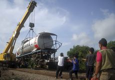ASIAN COMMON DISASTER HANDLING PROCEDURE. An out of track train at Karanganyar, Central Java, Indonesia. Indonesia and 21 Asian countries have agreed to a common stock image
