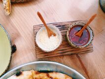 Asian condiments on table Stock Photography