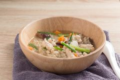 Asian congee with pork in white Royalty Free Stock Image