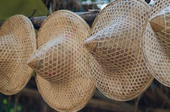 Asian conical weave hat. With leaves dry Stock Photography