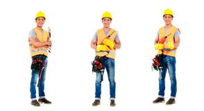 Asian construction man  occupation series. Asian construction worker, compositing of three scenes,  on white background Royalty Free Stock Images