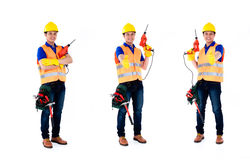 Asian construction man  occupation series. Asian construction worker, compositing of three scenes,  on white background Stock Images