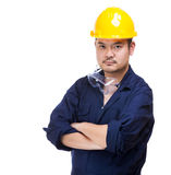 Asian construction worker isolated. On white Stock Photography
