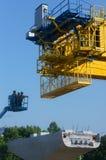 Asian construction worker, overhead railway, metro Royalty Free Stock Photos