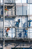 Asian construction worker scraffold, building site Royalty Free Stock Photography