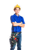 Asian construction  worker with tools Royalty Free Stock Photos