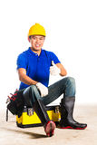 Asian construction  worker with tools Stock Image