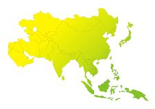 Asian Continent Gradation. Asian Countries within Asian Continent Yellow to Green Gradation Royalty Free Stock Photo