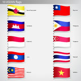 Asian countries flags collection set Royalty Free Stock Photography