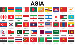 Asian countries flags Stock Photo