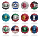 Asian countries (From I to M) flag balls Royalty Free Stock Photos
